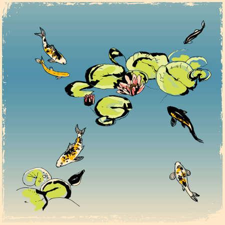 로터스 꽃 아래에서 잉어 물고기, 흑백 복고풍 스타일의 그림 일러스트