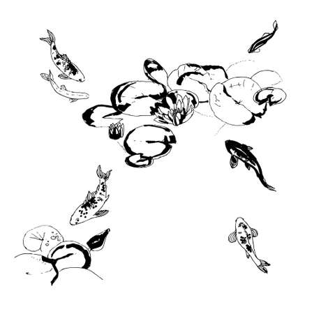 연꽃, 색 복고풍 그림 아래 잉어 물고기 일러스트