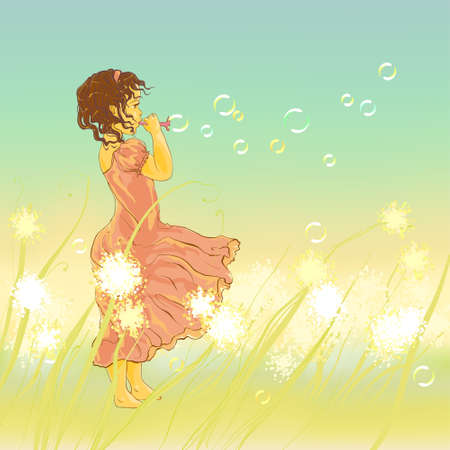 Little girl and soap bubbles, vector illustration
