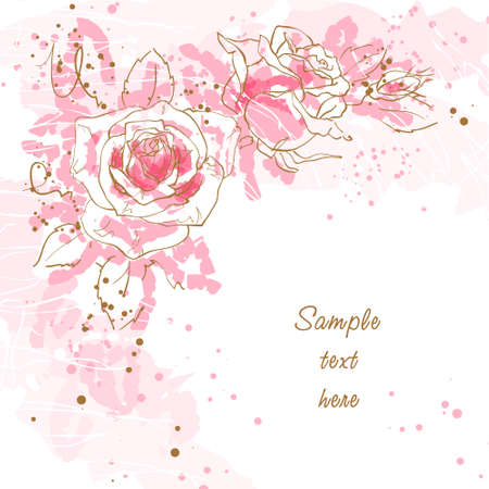 Abstract romantic background with three pink roses Illustration