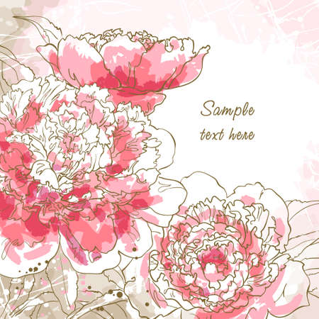 Abstract romantic background with three peony