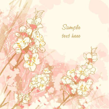 벚꽃과 추상 낭만적 인 배경 일러스트