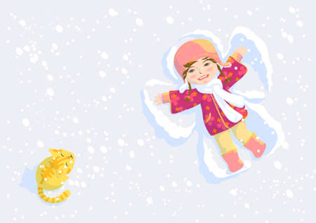 Pretty girl make wings on snow Vector