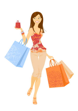 Smilling pleased shopping girl with paper-bags in his hand
