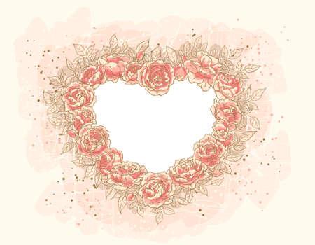 많은 장미 심장의 형태로 프레임 일러스트