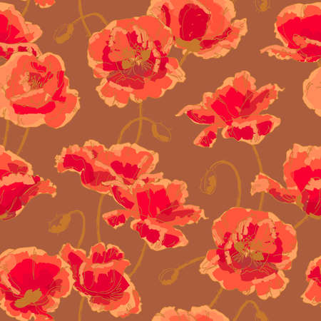 Seamless floral pattern with hand-drawn poppy flower Vector