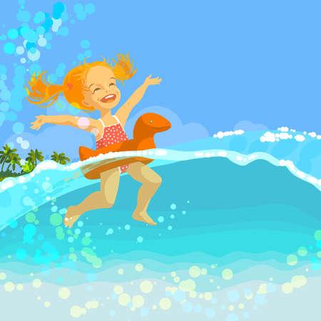행복 한 작은 소녀 화창한 여름 날 바다에서 풍선 반지에서 수영