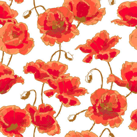 Seamless floral pattern with hand-drawn poppy flower on white background