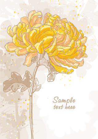 Abstract romantic vector background with chrysanthemum