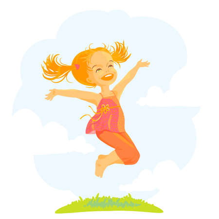 Happy little girl jump at sunny summer day