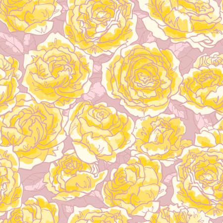 gele rozen: Naadloze floral patroon met gele rozen handgetekende Stock Illustratie