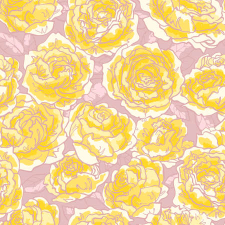 Seamless floral pattern with hand-drawn yellow roses Vector