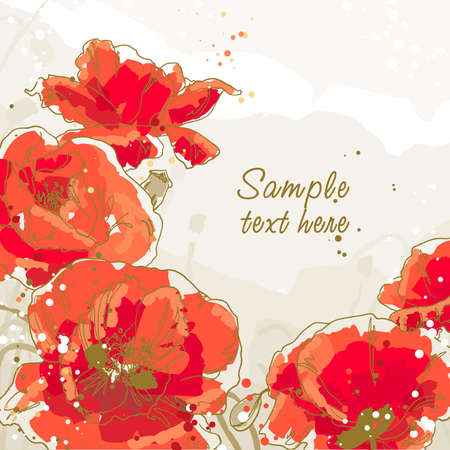 oriental season: Five beautiful red poppy on textured background