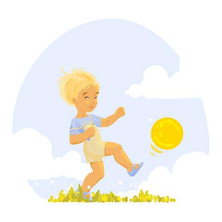 kicking ball: Ni�o jugando con una pelota en un d�a soleado de verano