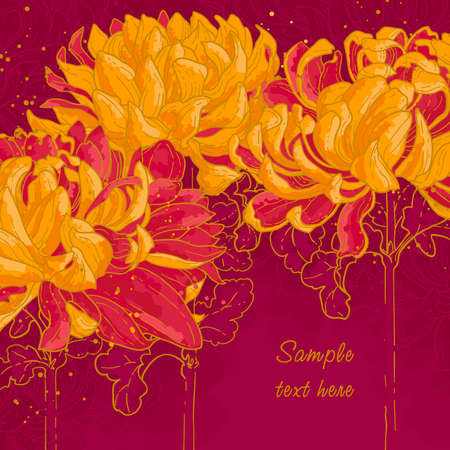 Abstract romantic background with three chrysanthemum