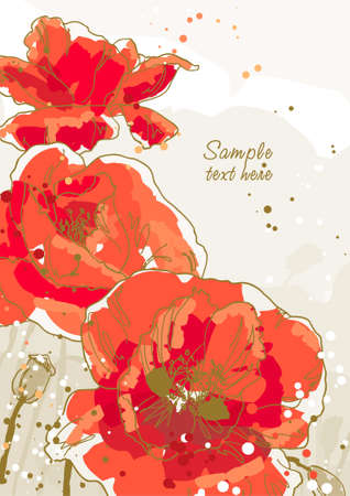 Three beautiful red poppy on textured background Vector