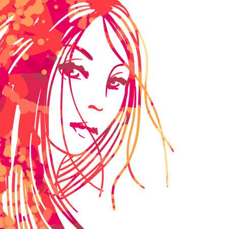 화이트 절연 아름 다운 여자의 수채화 초상화