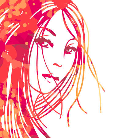 Watercolor portrait of beautiful women isolated on white Vector