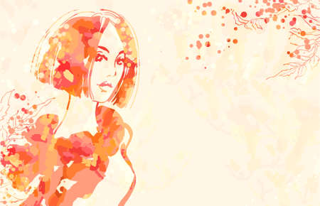 Watercolor portret of beautiful women at pink background Vector