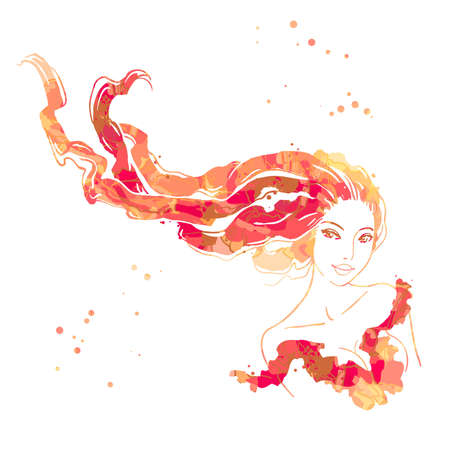 Watercolor portrait of beautiful women with long hair isolated on white Illustration