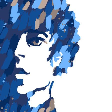 화이트 절연 젊은 남자의 수채화 초상화 일러스트