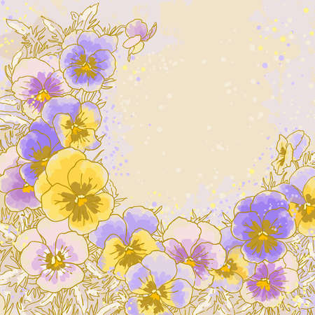 Beautiful pansy on textured background Vector