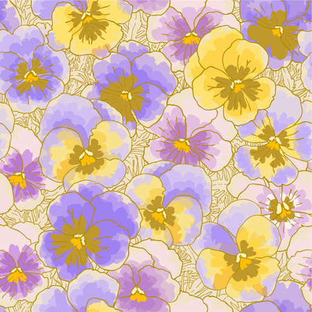 Seamless floral pattern with hand-drawn pansy