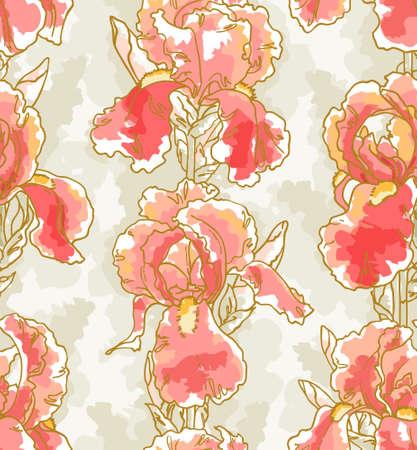 손으로 그린 홍채와 원활한 플로랄 패턴