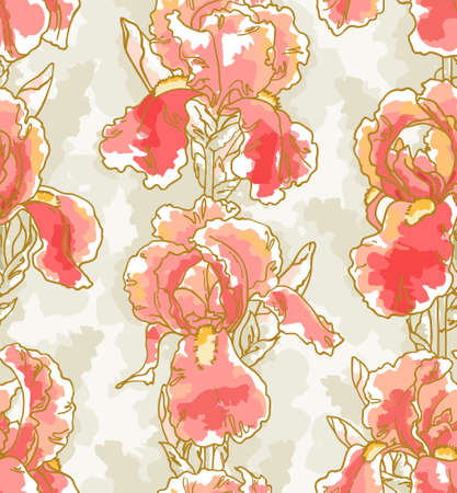 Seamless floral pattern with hand-drawn iris Illustration