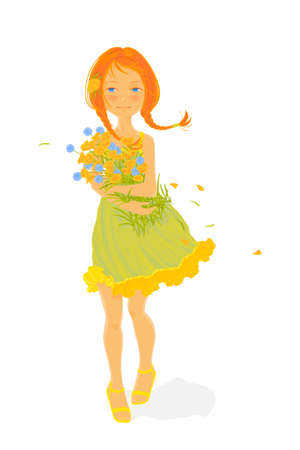 A pretty girl with a bouquet of wild flowers on a white background Vector