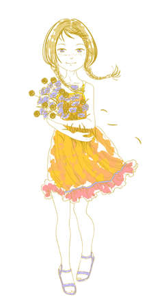 red haired girl: Pretty girl with a bouquet of wild flowers on a white background Illustration