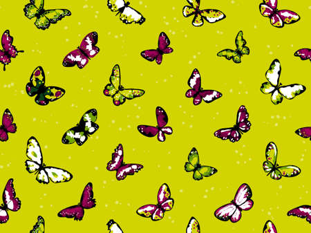 Seamless vector highly detailed pattern with butterflies in summer colors Vector