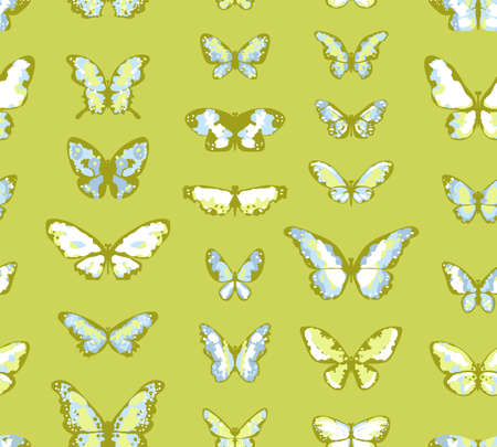 Seamless vector highly detailed background with butterflies in green and blue colors Vector