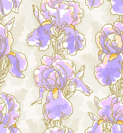 Seamless floral pattern with hand-drawn iris Vector