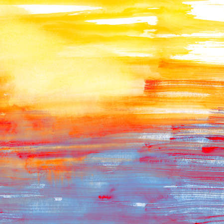 Blue and orange watercolor background, scanned in high resolution. Can be used as flyer or site background Banque d'images