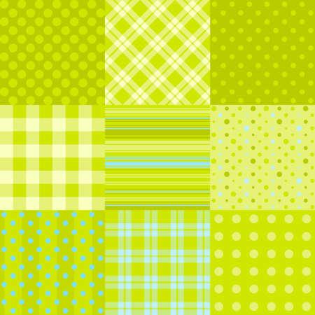 물방울 무늬, 스코틀랜드 격자 무늬 및 기타 : 간단한 녹색 패턴의 집합입니다. 섬유, 종이 패턴 또는 디지털 스크랩북으로 사용할 수 있습니다 일러스트