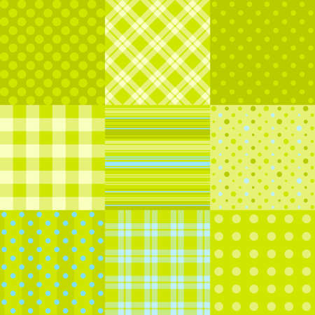 Set of simple green patterns: polka dot, scottish plaid and other. Can be used as textile, paper pattern or digital scrapbooking