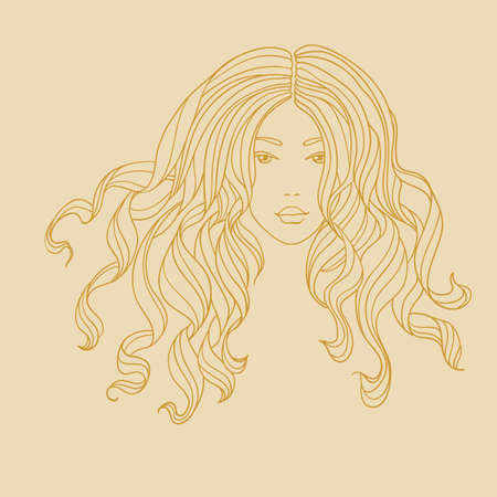 Vector portrait of a beautiful girl with long curly hair  Line art  Vector