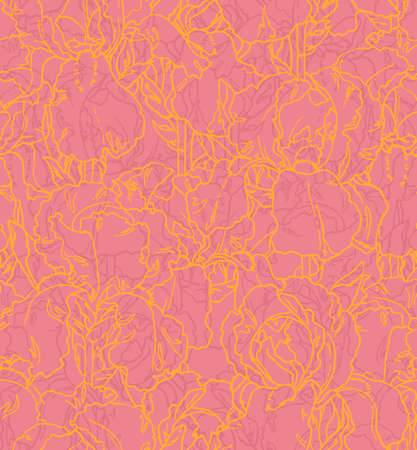 Seamless floral pattern with hand-drawn outlined irises Vector