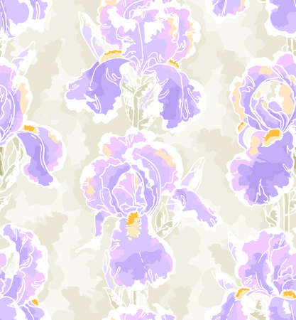 Seamless floral pattern with hand-drawn iris in batic style