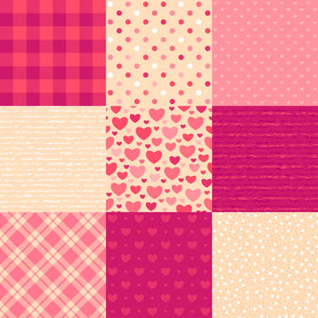 Love letters  Collection of 9 elegant seamless patterns on the theme of romance and love Vector