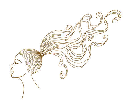 Vector portrait of a beautiful black girl with long curly hair  Line art  Isolated on white background Vector