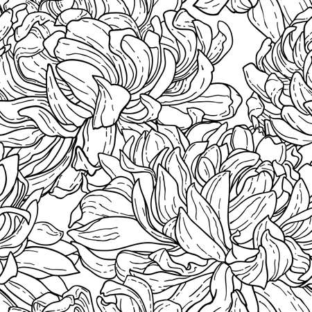 tracery: Seamless floral black and white tracery pattern with hand-drawn chrysanthemum flower isolated on white