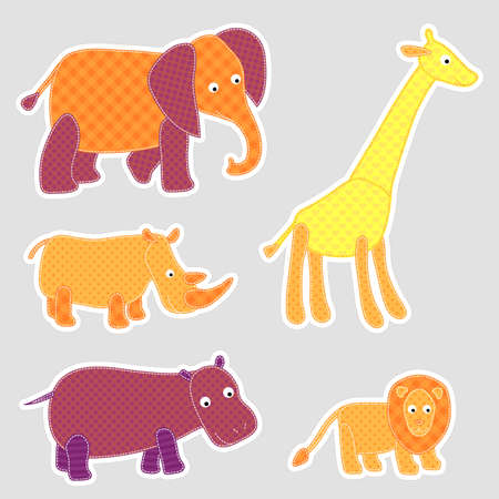 applique: Vector African cartoon animals in patchwork style Illustration