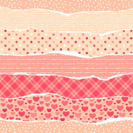 Torn wrapping paper with hearts  Seamless vector vibrant pattern