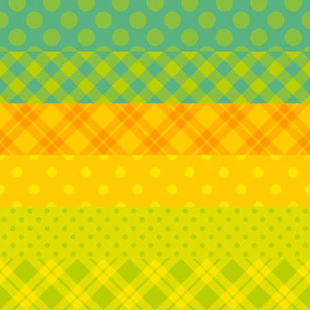 원활한 벡터 활기찬 박탈 된 패턴 녹색과 노란색 색상 일러스트