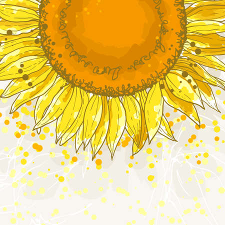 The contour drawing flower sunflower  Can be used as background for invitation cards