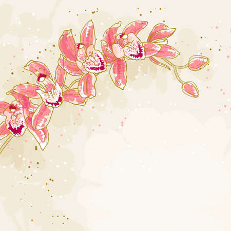 The contour drawing orchids flower   Can be used as background for invitation cards  Vector
