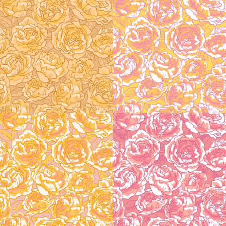 Collection of seamless floral pattern with hand-drawn pink roses Vector