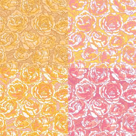 colores pastel: Recolecci�n de patr�n transparente floral con dibujados a mano de color rosa rosas